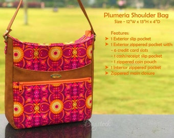 Plumeria Shoulder Bag, PDF sewing pattern, Bagstock Designs