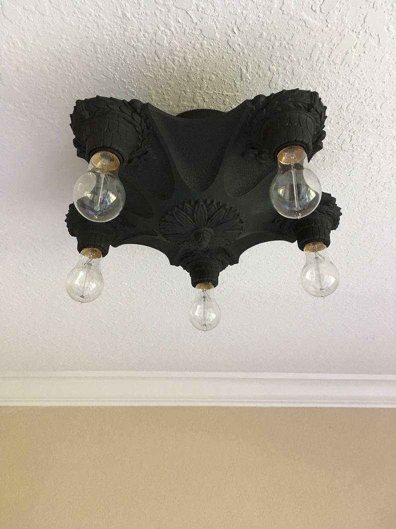 Semi Flush Mount Cast Iron Ceiling Light 1920s Art Deco Markel Web Design Charcoal Black Rewired Short Ceiling