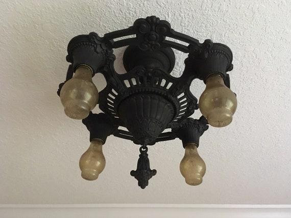 Antique 1920 S 5 Bulb Semi Flush Light Fixture Heavy Cast Iron Charcoal Black