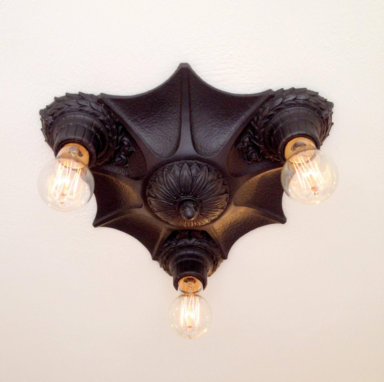 Flush Mount Cast Iron Ceiling Light, 1920's Art Deco ...