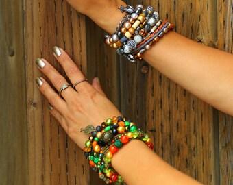 Jungle Multi Strand Bracelet - Boho, hippie, gypsy, colorful, beaded, exclusive, unique, brazilian - Mixed colors (Orange/Green/Black/Gold)