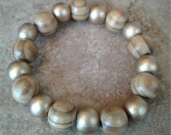 Golden/Natural Bracelet - Beaded, Elastic, Boho, Hippie, Gypsy, Colorful, Exclusive, Brazilian