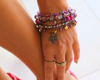 Faith Multi Strand Bracelet - Boho, hippie, gypsy, colorful, beaded, exclusive, unique, brazilian - Mixed colors (Purple/Pink/Gold/Brown)