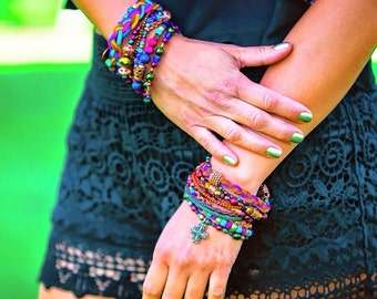 Journey Multi Strand Bracelet - Boho, hippie, gypsy, colorful, beaded, exclusive, unique, brazilian - Mixed colors (Purple/Green/Gold/Brown)