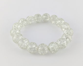 Clear Bracelet - Beaded, Elastic, Boho, Hippie, Gypsy, Colorful
