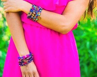 Romance Multi Strand Bracelet - Boho, hippie, gypsy, colorful, beaded, exclusive, unique, brazilian - Mixed colors (Pink/Blue/Brown/Gold)