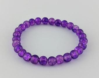 Purple Bracelet - Beaded, Elastic, Boho, Hippie, Gypsy, Colorful