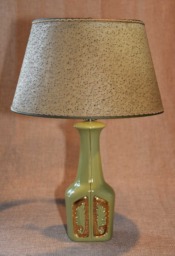 Vintage modern drip glaze table lamp mid century ceramic green glaze fiberglass shade