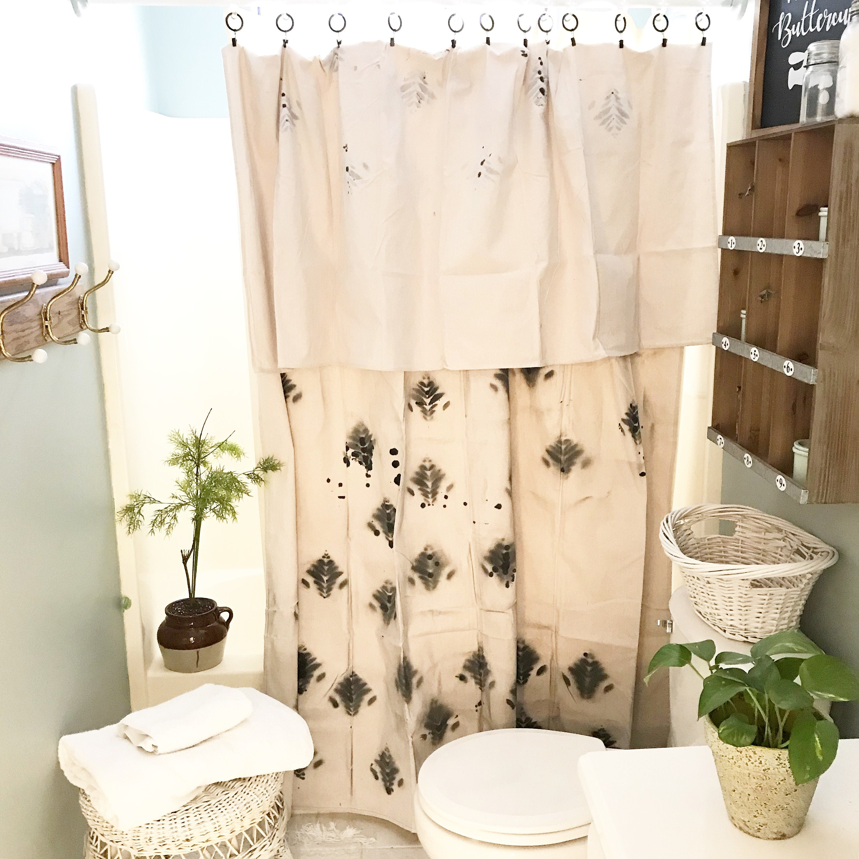 Drop Cloth Shower Curtain With Clip Rings