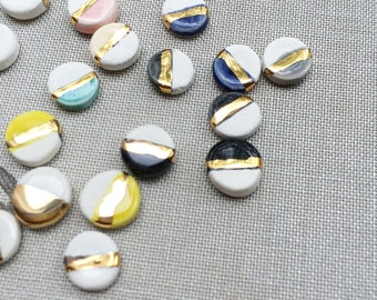 Tiny ceramic & 22kt gold stud earrings, minimalist earrings, circle geometric studs, minimalist studs, gold earrings, ceramic earrings