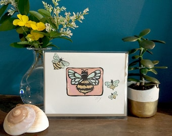 "Hand painted bee card, original miniature painting, ""Horus"" 6, blank greeting card, insect card"