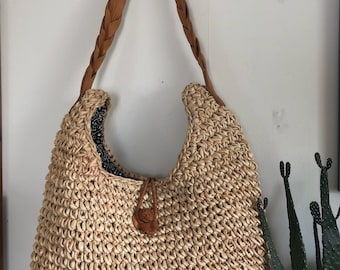 efee82bbedf4 Large woven sisal jute rattan natural fiber basket hobo crossbody bag with  leater details!