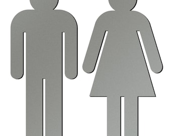 Men and Women Silhouette Bathroom Sign Cut Out Of Metallic Acrylic