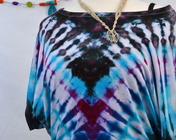 Tie Dye Women's Organic Bamboo PONCHO Tee T-Shirt Purple Teal Blue Eco Sustainable Bohemian Hippie Fashion Grateful Dead Made in the USA