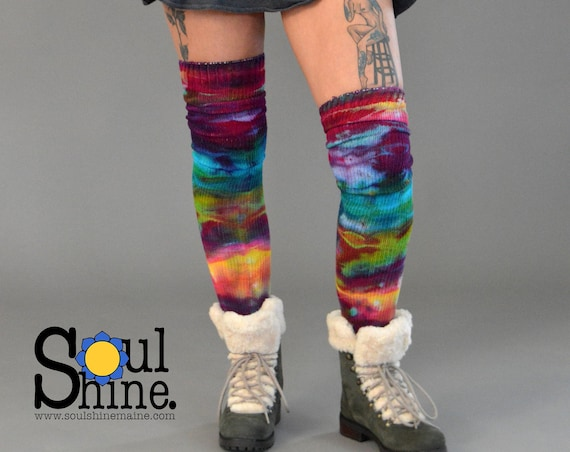Extra Tall TIE DYE Thigh High Primary Prisma Color Bright Rainbow Socks Handmade OoaK Extra Tall Cotton Sox  Made in the USA