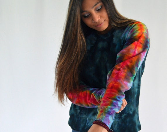 Melt the Rainbow Crew Sweatshirt in Teal MEDIUM