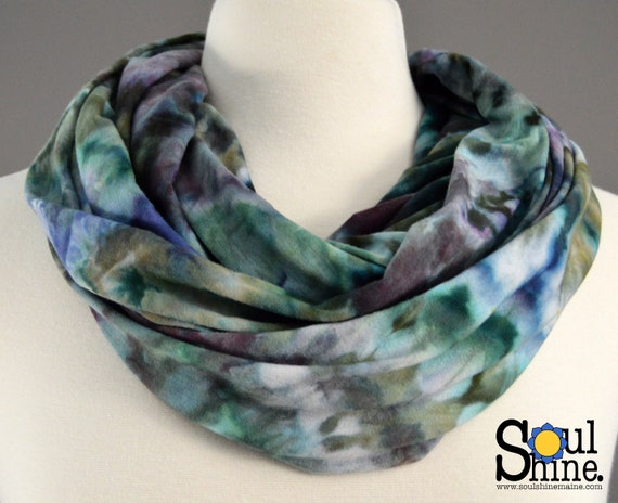 Infinity Scarf - Sage + Blue Earth Spiral