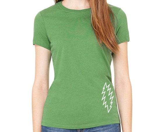GRATEFUL DEAD Basics Womens Jersey Cotton Tee T Shirt T-Shirt Top Leaf GREEN with Stealie 13 Point Lightning Bolt Concert Tee * New Color *