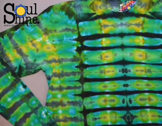 Acid TIE Dye Long Sleeve Tee Green Blue T T-Shirt Shirt MENS xL Extra Large Blue Acid Trip Grateful Dead Handmade Dyed Made in the USA