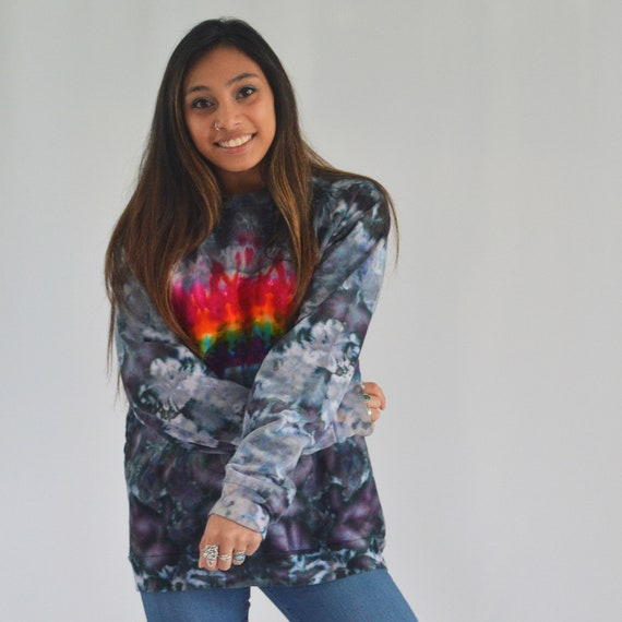 Melt the Rainbow Crew Sweatshirt in Touch of Grey LARGE