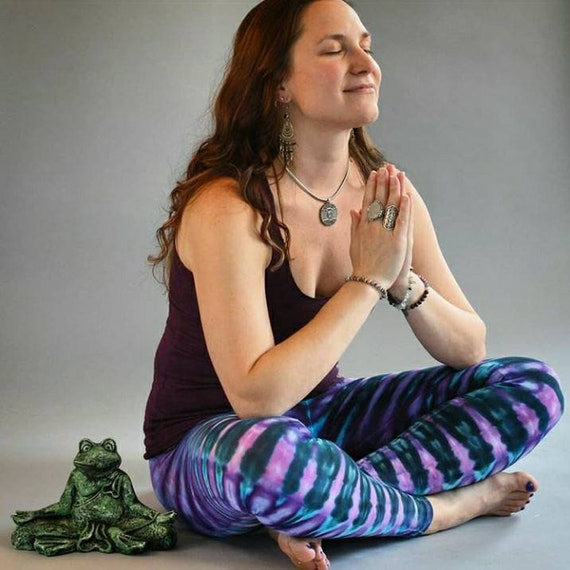 Tie Dye LEGGINGS Legging Mermaid Tones Purple Teal + Aqua Blue   Yoga Pant Pants Workout   Hippie GRATEFUL Dead Cotton Made in the USA