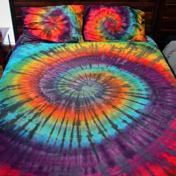 Tie Dye Bedding SHEET Set or Duvet - Queen, King or Full - 400 Count Cotton Sheets Hand Dyed CUSTOM Order Only Psychedelic Grateful Dead