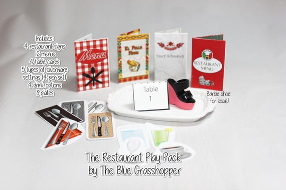 Printable Restaurant Play Pack For Scale Or Barbie Etsy - Restaurant table cards