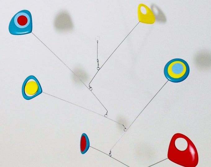 Mobile Modern Mobile, Kinetic Retro Mobile, Yellow Turquoise Red Blue Mobile, Hanging Mobile, Mid Century