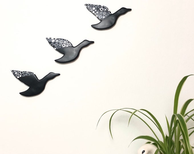 Flying Ducks, Wall Art, Mid Century Modern, Wall Hanging, Duck Decor, Kitsch Wall Art, Three Flying Ducks, Black and White Decor, Retro Home