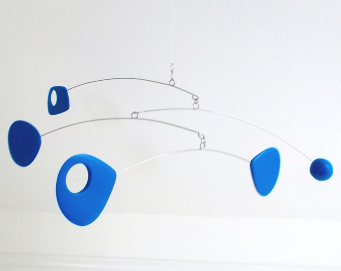 Kinetic mobile, Hanging Mobile, Blue Mobile, Mid Century, Retro Mobile, Art Mobile, Modern Home, Mobile Art, Crib Mobile, Mobile