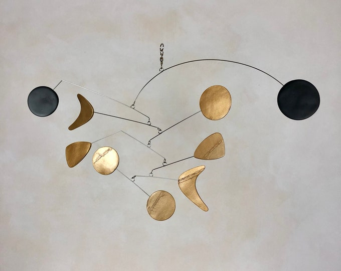 Brass and Black Hanging Mobile, Kinetic Mobile, Art Mobile, Modern Mobile, Mid Century Modern, Hanging Sculpture, Art Decor