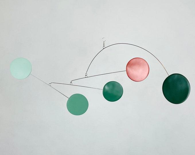 Sage Green and Bronze Mobile, Kinetic Mobile, Art Mobile, Modern Mobile, Mid Century Modern, Sculpture, Art Decor, Modern Home