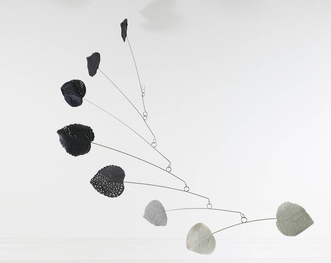 Leaf Mobile, Modern Decor, Minimalist Decor, Grey Modern Mobile, Kinetic Mobile, Modern Home, Modern Sculpture, Grey White Black, Mobiles