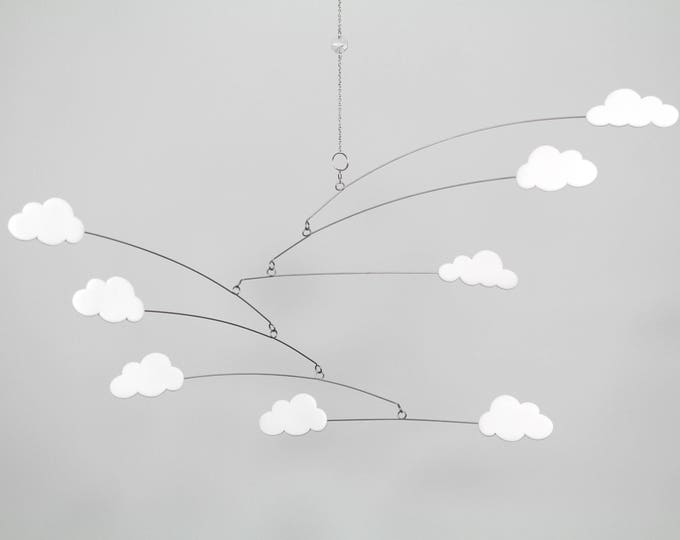 Baby White Cloud Mobile, Cloud, Nursery Mobile, White Mobile, Cot Mobile, Modern Nursery, Monochrome, baby Shower, Crib Mobile, Cloud