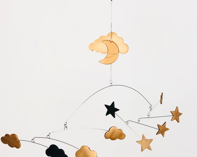 Cloud and Star Mobile, Nursery Mobile, Baby Mobile, Gold and Black, Cot Mobile, Modern Nursery, Monochrome, Baby Shower, Crib Mobile