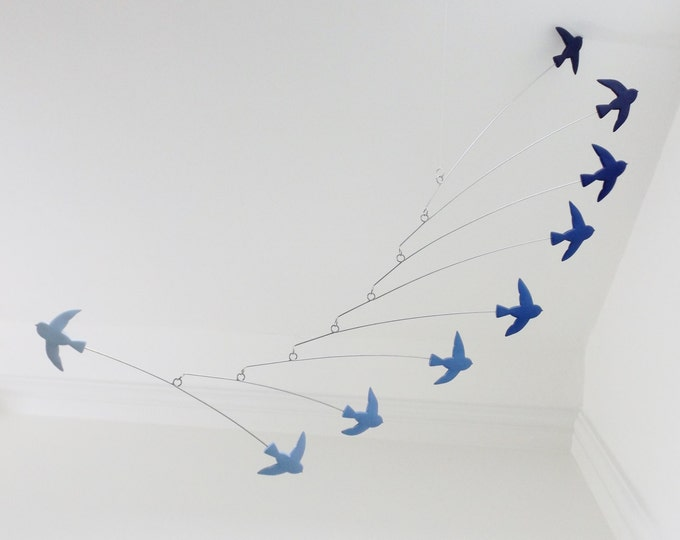 Modern Mobile Kinetic Bird Mobile Shades of Blue