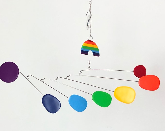 Rainbow Hanging Kinetic Mobile with Crystal