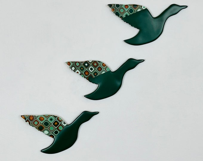 Flying Ducks, Wall Art, Green and Gold, Mid Century Modern, Wall Hanging, Duck Decor, Kitsch Wall Art, Three Flying Ducks, Retro Home
