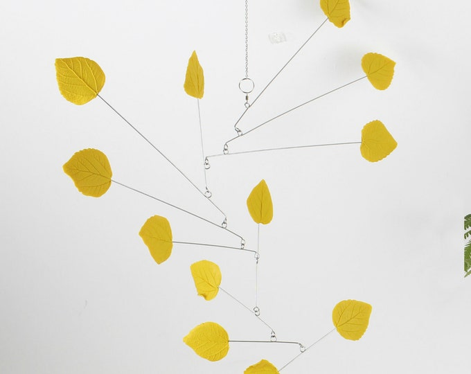 Leaf Mobile, Mobile Yellow Leaf, Modern Kinetic Mobile, Modern Yellow Leaf Mobile, Hanging Mobile, Modern Mobile, Sculpture, Modern Home