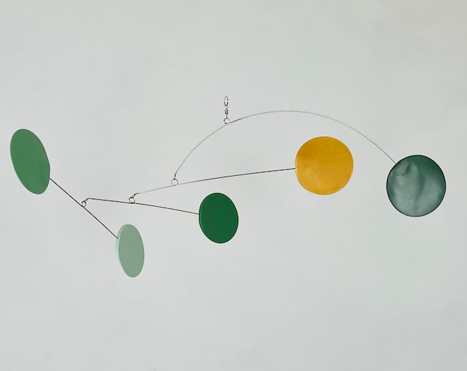 Sage Green and Gold Hanging Mobile, Kinetic Mobile, Art Mobile, Modern Mobile, Mid Century Modern, Hanging Sculpture, Art Decor, Modern Home