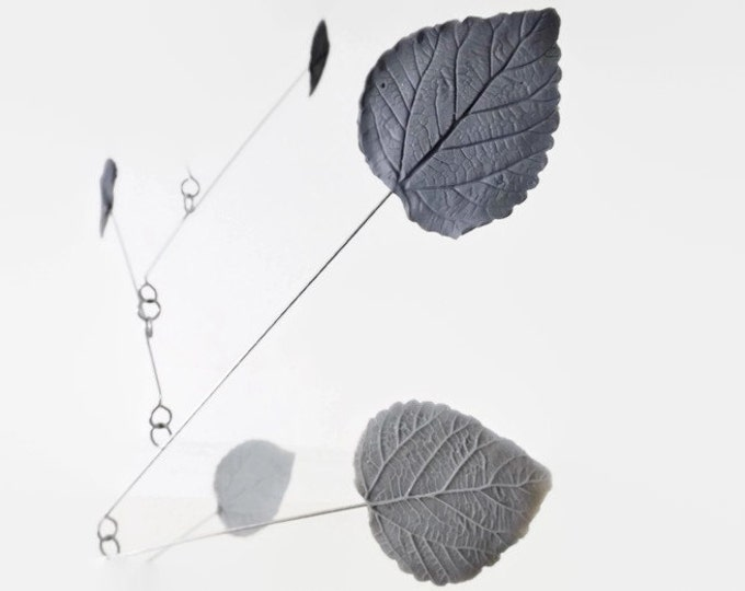 Mobile White Grey and Black Leaf Modern Kinetic Mobile