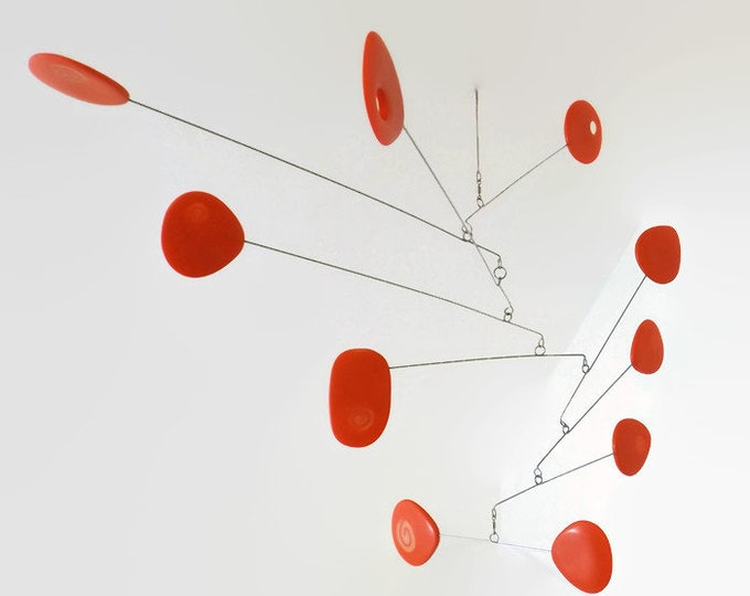 Modern Mobile Modern Orange Kinetic Mobile, Hanging Mobile, Mid Century