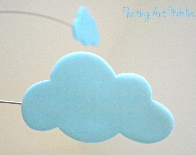 Cloud Mobile, Nursery Decor, Cot Mobile, Cloud Decor, Modern Cloud Mobile, Whimsy Pastel Blue Mobile, Kinetic Baby Mobile,