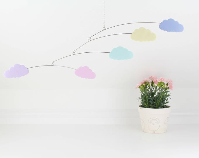 Clouds, Baby Mobile, Cloud Decor, Nursery Mobile, Cloud Mobile, Crib Mobile, Baby Shower Gift, Nursery Decor,  Baby Room, Pastel Baby Room