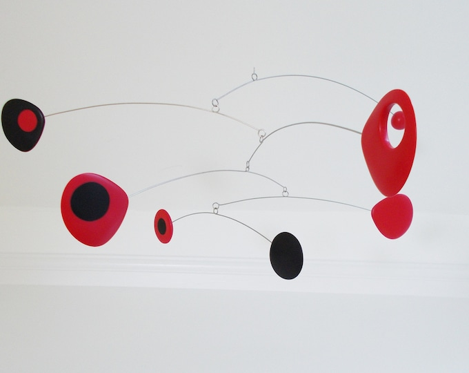 Modern Mobile, Mid Century, Retro Mobile, Art Mobile, Modern Home, Black and Red, Hanging Mobile, Sculpture, Mobile Art, Mobile, Moving Art