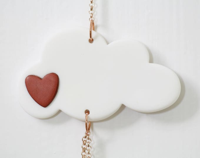 White and Copper Cloud Mobile, Nursery Crib Mobile, Cloud, Cloud Nursery decor, Modern Baby, Cloud and Heart, Rose Gold