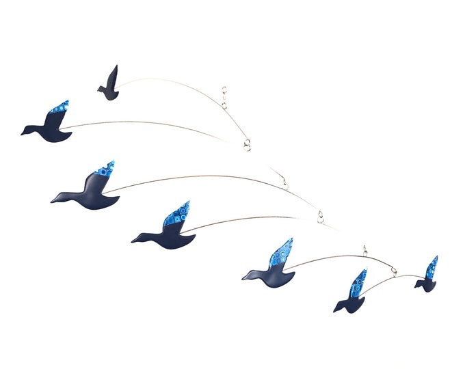 Flying Ducks, Kinetic Modern Art Bird Mobile, Blue, Retro Decor, Mid Century Modern Home Decor, Hanging Mobile, Modern Sculpture Art