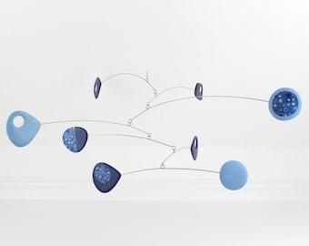 Modern Mobile, Retro Blue Kinetic, Hanging Mobile, Mid Century, Kinetic Mobile, Modern Home, Blue, Modern Art, Sculpture, Mobile