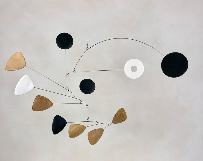 Brass Black and White Hanging Mobile, Kinetic Mobile, Art Mobile, Modern Mobile, Mid Century Modern, Hanging Sculpture, Art Decor