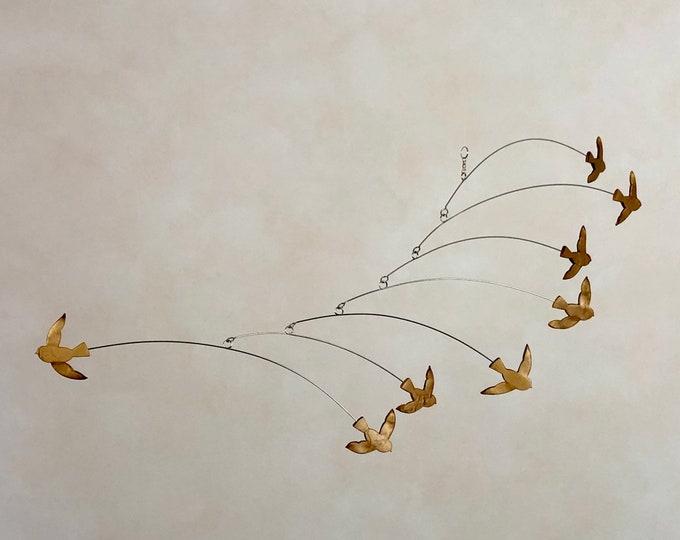 Brass Bird Kinetic Modern Art Bird Mobile, Mid Century Modern Home Decor, Hanging Mobile, Modern Sculpture Art
